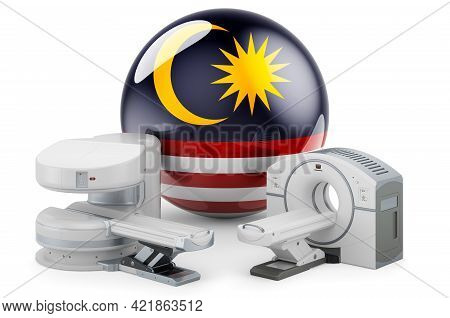 Mri And Ct Diagnostic, Research Centres In Malaysia. Mri Machine And Ct Scanner With Malaysian Flag,