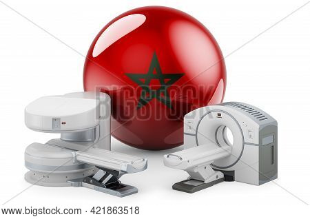Mri And Ct Diagnostic, Research Centres In Morocco. Mri Machine And Ct Scanner With Moroccan Flag, 3
