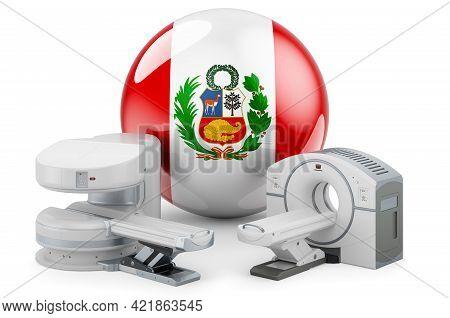 Mri And Ct Diagnostic, Research Centres In Peru. Mri Machine And Ct Scanner With Peruvian Flag, 3d R