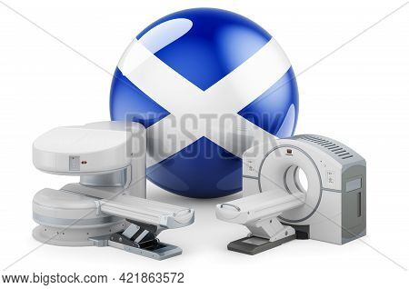 Mri And Ct Diagnostic, Research Centres In Scotland. Mri Machine And Ct Scanner With Scottish Flag,