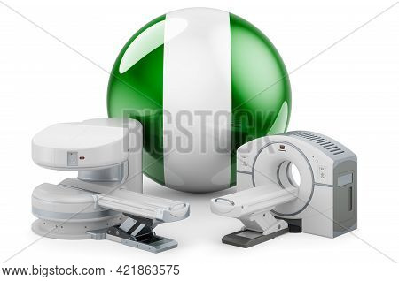 Mri And Ct Diagnostic, Research Centres In Nigeria. Mri Machine And Ct Scanner With Nigerian Flag, 3