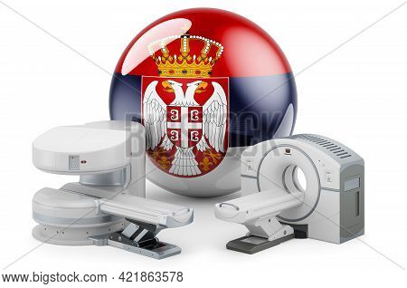 Mri And Ct Diagnostic, Research Centres In Serbia. Mri Machine And Ct Scanner With Serbian Flag, 3d
