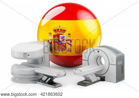 Mri And Ct Diagnostic, Research Centres In Spain. Mri Machine And Ct Scanner With Spanish Flag, 3d R