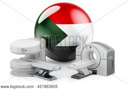 Mri And Ct Diagnostic, Research Centres In Sudan. Mri Machine And Ct Scanner With Sudanese Flag, 3d