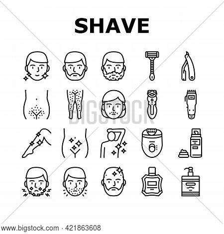Shave Treat Accessory Collection Icons Set Vector. Razor For Shave Mustache And Beard, Epilator Devi