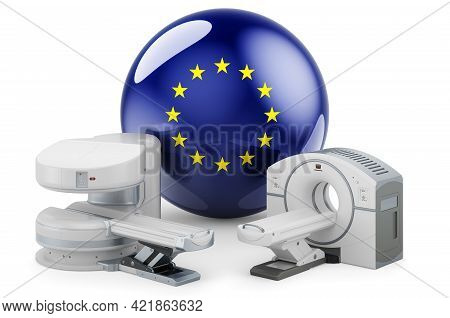 Mri And Ct Diagnostic, Research Centres In The European Union. Mri Machine And Ct Scanner With The E