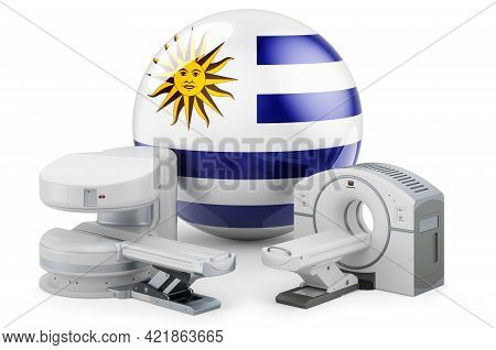 Mri And Ct Diagnostic, Research Centres In Uruguay. Mri Machine And Ct Scanner With Uruguayan Flag,