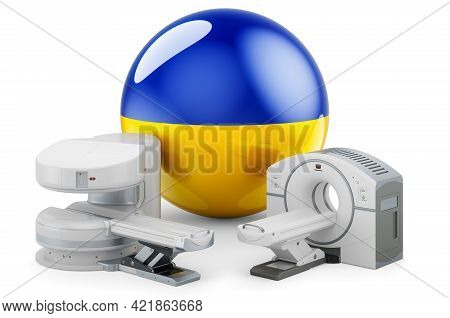 Mri And Ct Diagnostic, Research Centres In Ukraine. Mri Machine And Ct Scanner With Ukrainian Flag,