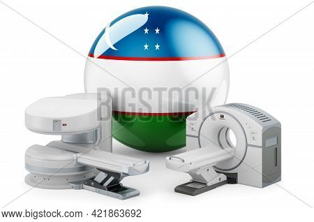 Mri And Ct Diagnostic, Research Centres In Uzbekistan. Mri Machine And Ct Scanner With Uzbek Flag, 3