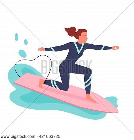 Young Woman Surfing On Surf Board, Surfer In Wetsuit Surfing Among Waves And Sea Splashes
