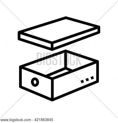 Women Shoes Box Line Icon Vector. Women Shoes Box Sign. Isolated Contour Symbol Black Illustration
