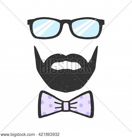 Glasses, beard and bow vector illustration with texture. Decoration for Fathers Day. Man face. Design element for print, poster, banner, badge, sticker, t-shirt. Vector
