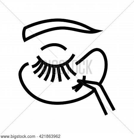 Applying Eyelashes Line Icon Vector. Applying Eyelashes Sign. Isolated Contour Symbol Black Illustra