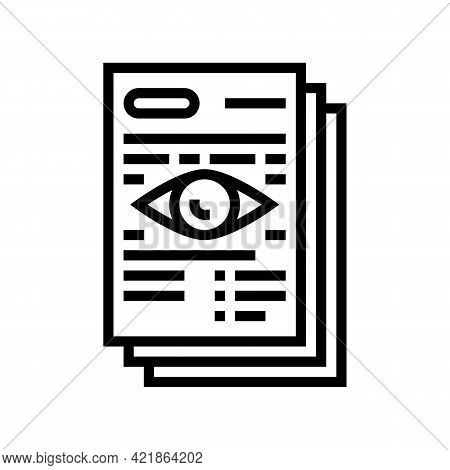 Notary Document Reading Line Icon Vector. Notary Document Reading Sign. Isolated Contour Symbol Blac
