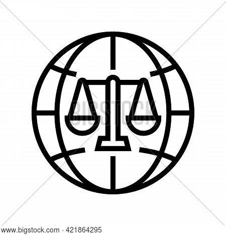 International Jurisprudence Line Icon Vector. International Jurisprudence Sign. Isolated Contour Sym