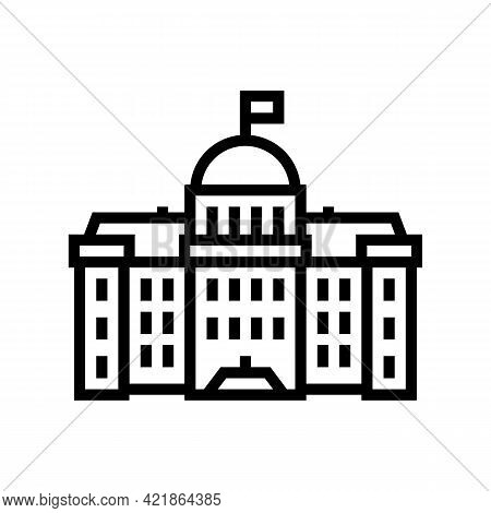 Government Building Line Icon Vector. Government Building Sign. Isolated Contour Symbol Black Illust