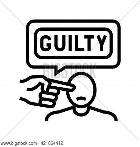 Guilty Law Line Icon Vector. Guilty Law Sign. Isolated Contour Symbol Black Illustration