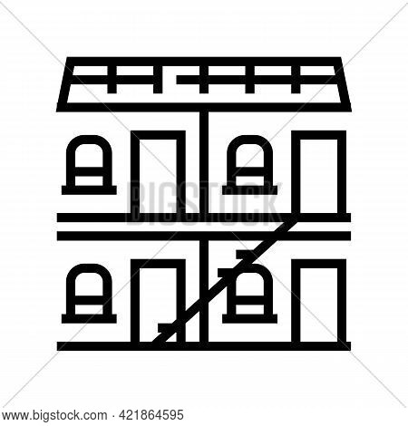 Building Hotel Line Icon Vector. Building Hotel Sign. Isolated Contour Symbol Black Illustration