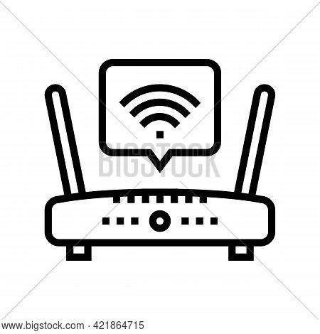 Wifi Internet In Motel Line Icon Vector. Wifi Internet In Motel Sign. Isolated Contour Symbol Black