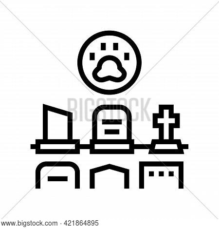 Cemetery Pet Line Icon Vector. Cemetery Pet Sign. Isolated Contour Symbol Black Illustration