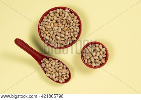 Dry Pinto Bean Seed In Red Plastic Bowl In Top View