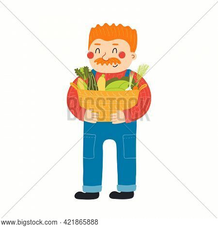 Funny Cartoon Farmer Holding Basket With Vegetables, Isolated On White. Hand Drawn Vector Illustrati