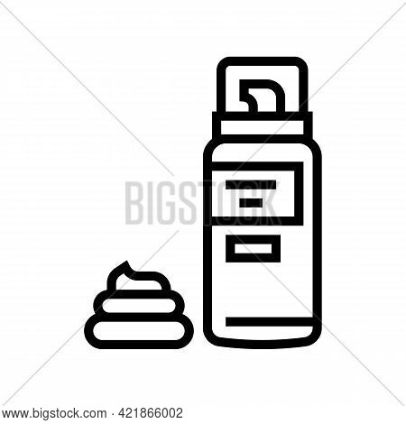 Foam For Shave Line Icon Vector. Foam For Shave Sign. Isolated Contour Symbol Black Illustration