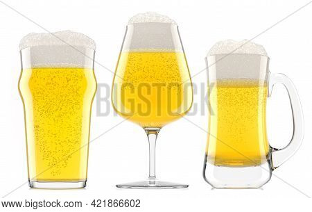 Set Of Fresh Beer In Different Mugs With Bubble Froth Isolated On White.