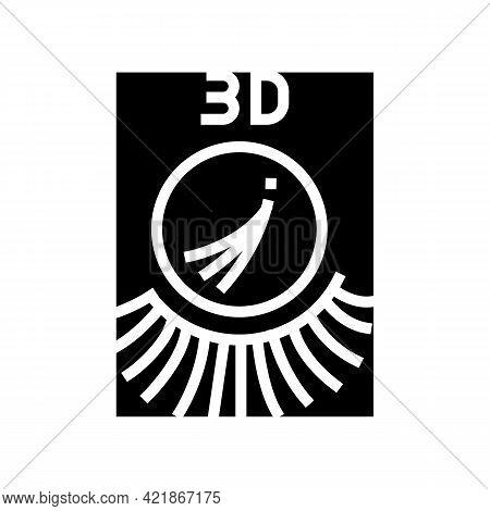 3d Eyelashes Glyph Icon Vector. 3d Eyelashes Sign. Isolated Contour Symbol Black Illustration