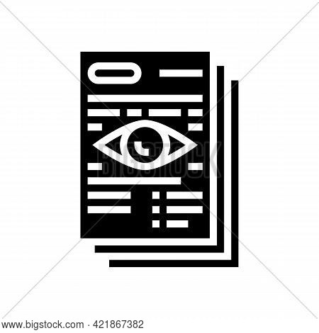 Notary Document Reading Glyph Icon Vector. Notary Document Reading Sign. Isolated Contour Symbol Bla