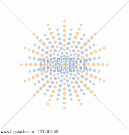 Vector Abtracty Curved Geometric Photogura From Points. Orange And Blue Lines. Element For Your Desi