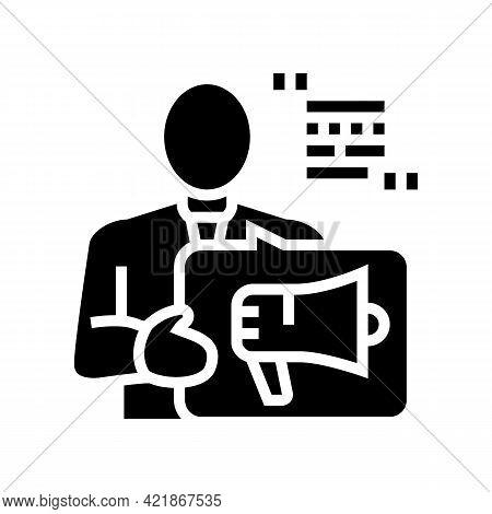 Advisor Law Glyph Icon Vector. Advisor Law Sign. Isolated Contour Symbol Black Illustration