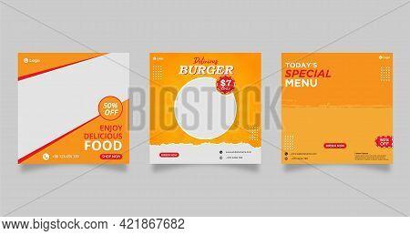 Food Menu Banner Template, Social Media Post Template