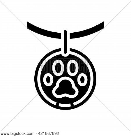 Medallion Dead Pet Glyph Icon Vector. Medallion Dead Pet Sign. Isolated Contour Symbol Black Illustr