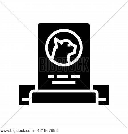 Cat Dead Pet Monument Glyph Icon Vector. Cat Dead Pet Monument Sign. Isolated Contour Symbol Black I