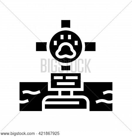 Grave Pet With Cross Glyph Icon Vector. Grave Pet With Cross Sign. Isolated Contour Symbol Black Ill