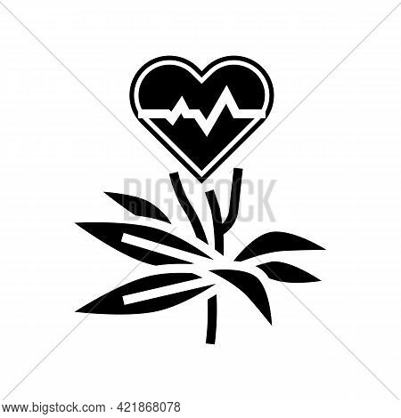 Natural Plant For Heartbeat Phytotherapy Glyph Icon Vector. Natural Plant For Heartbeat Phytotherapy