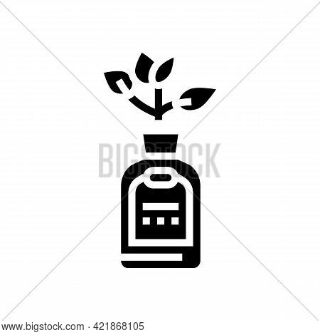 Natural Plant Phytotherapy Medicaments Bottle Glyph Icon Vector. Natural Plant Phytotherapy Medicame