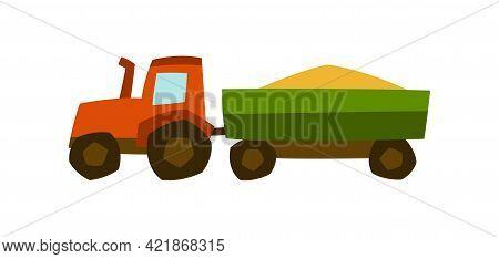 Illustration Of Tractor Harvester. Agricultural Harvesting Transport.