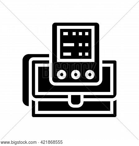Portable Cardio Device Glyph Icon Vector. Portable Cardio Device Sign. Isolated Contour Symbol Black