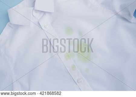 Close Up Stained White T-shirt. Cleaning Concept
