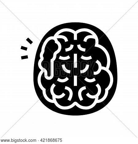 Brain Stroke Glyph Icon Vector. Brain Stroke Sign. Isolated Contour Symbol Black Illustration