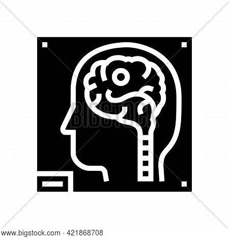Human Brain X-ray Glyph Icon Vector. Human Brain X-ray Sign. Isolated Contour Symbol Black Illustrat