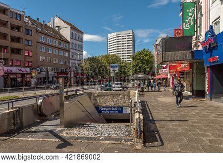 Hamburg, Germany, June 17, 2020: Entrance And Exit Of The Reeperbahn Underground Station, Hamburg, G