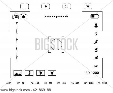 Camera Viewfinder Display. Exposure And Composition Focus, Electronic Zoom, Photography Optical, Fin