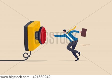Push Button Call For Emergency Help, Control Or Launch Rocket, Start New Business Or Launch Start Up