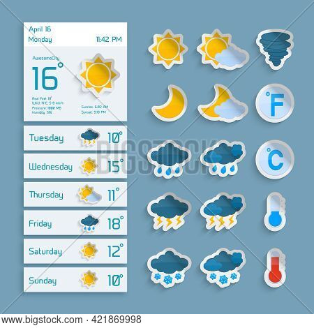 Weather Extended Forecast Computer Paper Decorative Widgets With Sun Clouds Rain And Snow Icons Vect
