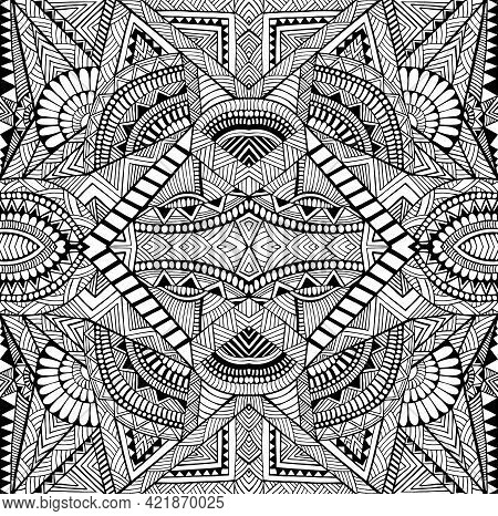 Coloring Page Abstract Pattern With Maze Of Ornaments. Psychedelic Stylish Card With Black And White