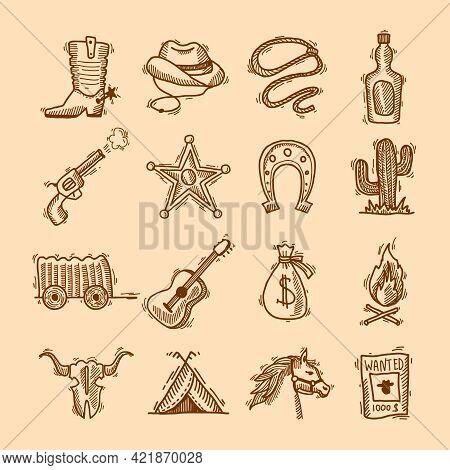 Wild West Cowboy Hand Drawn Set With Saddle Sheriff Badge Horseshoe Isolated Vector Illustration