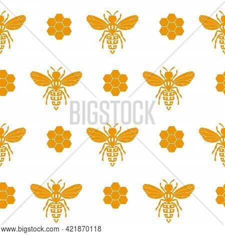 Seamless Pattern With Bees And Honeycombs On White Background. Small Wasp. Vector Illustration. Ador
